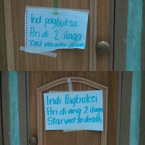 """saw these note n d kitchen and thought, wth is wrong with my sister?! Haha 😁 Translation: """"Do not open, There's two mouse in here, cast into outer darkness"""" and """" Do not open, there's two mouse n here, starved to death"""". 😂😂"""