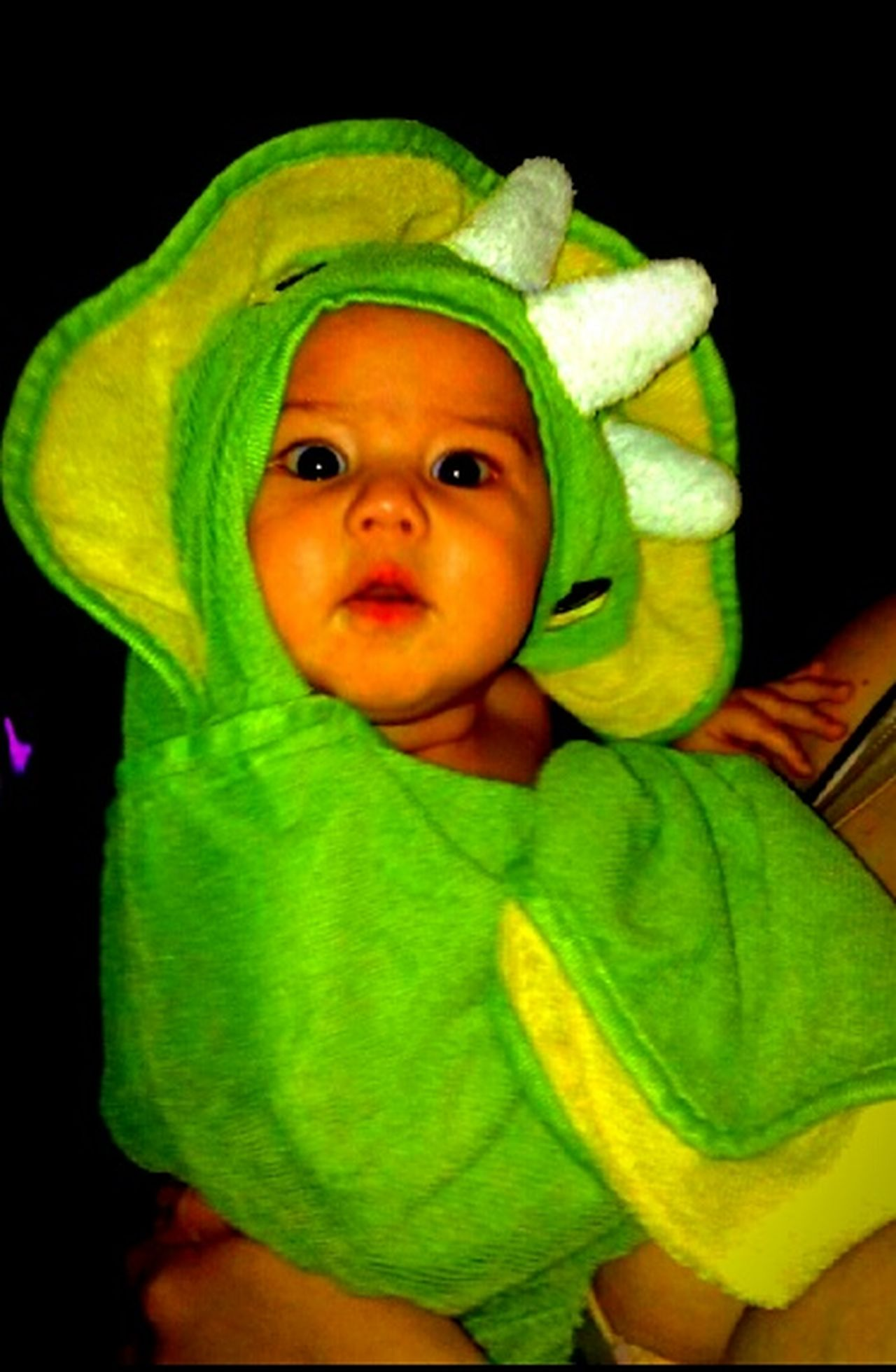 Lola Nia Bathed Towel Animal All Cleaned Up  Baby Girl Cuddle Time Dinosaurs Babies Only Cute Innocence Green Color Looking At Camera Portrait Childhood Babyhood DinosaursAroundTheWorld Dinosaur Black Background One Person People Spring Evening Original Experiences Just For A Minute Getty Images Eyeem Market Out Of The Box Live For The Story