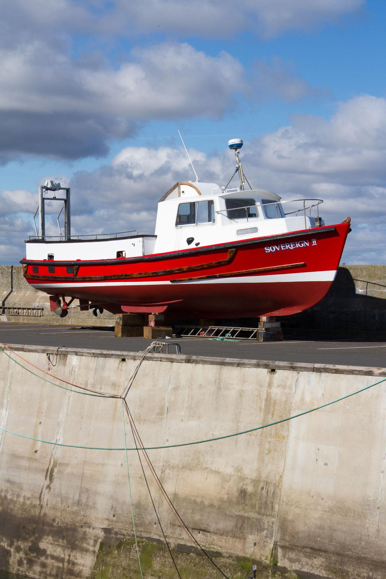 Boat, Dry Dock Fishing Boat Harbour Port Red Seaside Transport Dock