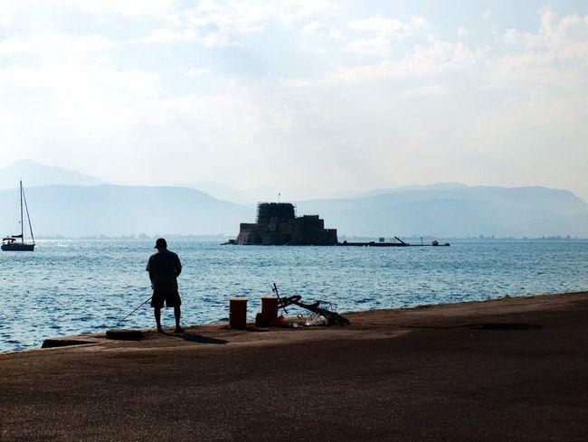 Nauplio, Greece Sea Landscape Summer Silhouette