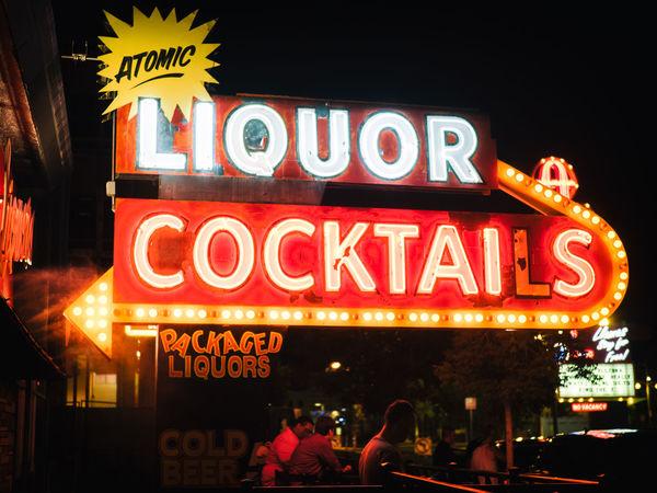Atomic Las Vegas Liquor Red Bar Bar - Drink Establishment City Life Cocktails Drinking Illuminated Neon Night Nightclub Nightlife People Restaurant Text