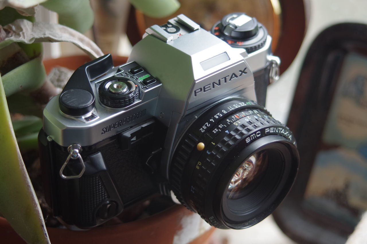 A vintage Pentax SuperProgram film camera still working after decades. Camera Camera - Photographic Equipment Close-up Film Camera Film Industry Old-fashioned Pentax Photography Themes Retro Styled SLR Camera Super Program Technology Vintage