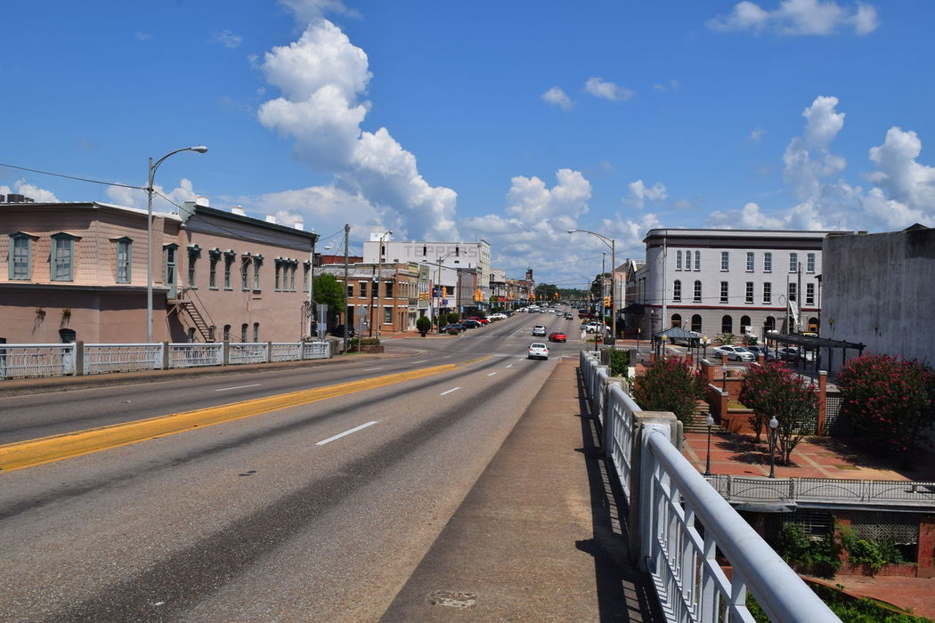 Edmund Pettus Bridge Selma Alabama starting point on the march. View From The Top View Selma Alabama Bridge Tourist Attraction  Downtown