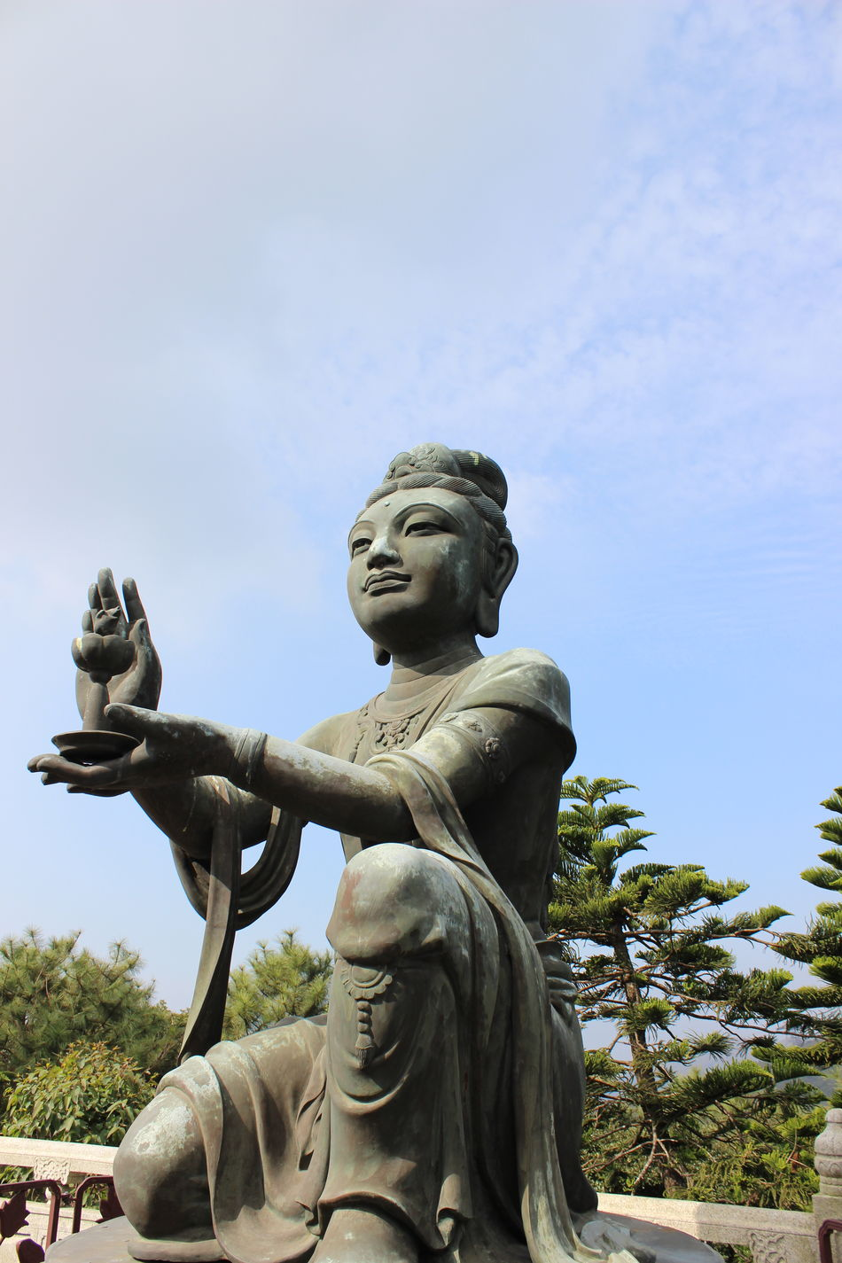 Statue Sculpture No People Anthropomorphic Religion Outdoors Sky Day Blue Cloud - Sky Travel Photography Travel Destinations HongKong Architecture Beauty In Nature Tian Tan Buddha (Giant Buddha) 天壇大佛 Place Of Worship