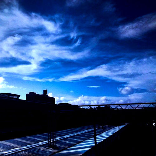 Architecture Beauty In Nature Blue And White Sky Blue Sky And Clouds Building Exterior Built Structure Cloud - Sky Evening India Mumbai Nature No People Outdoors Railway Station Scenics Silhouette Sky