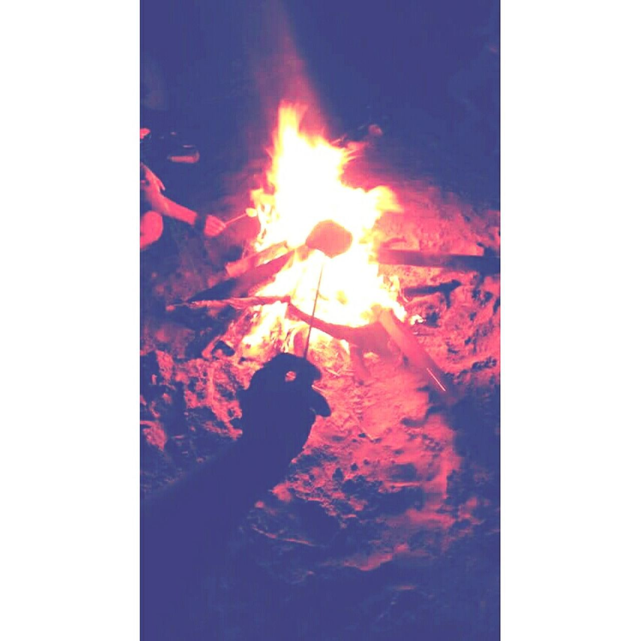 flame, burning, danger, heat - temperature, outdoors, night, one person, real people, bonfire, men, nature, one man only, close-up, people