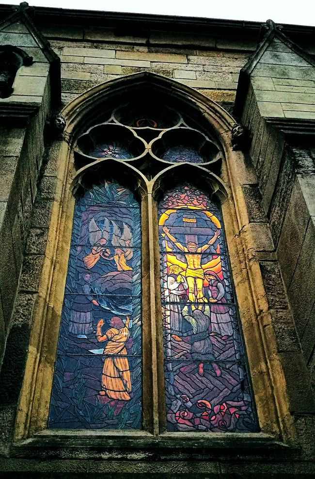 Architecture Spirituality Window Religion Built Structure Place Of Worship Church Arch Building Exterior Low Angle View Stained Glass Weathered Day Outdoors History Façade Multi Colored Stained Glass Window Stainglasswindow Windowporn Newcastle Upon Tyne Spirituality Architectural Column Place Of Worship