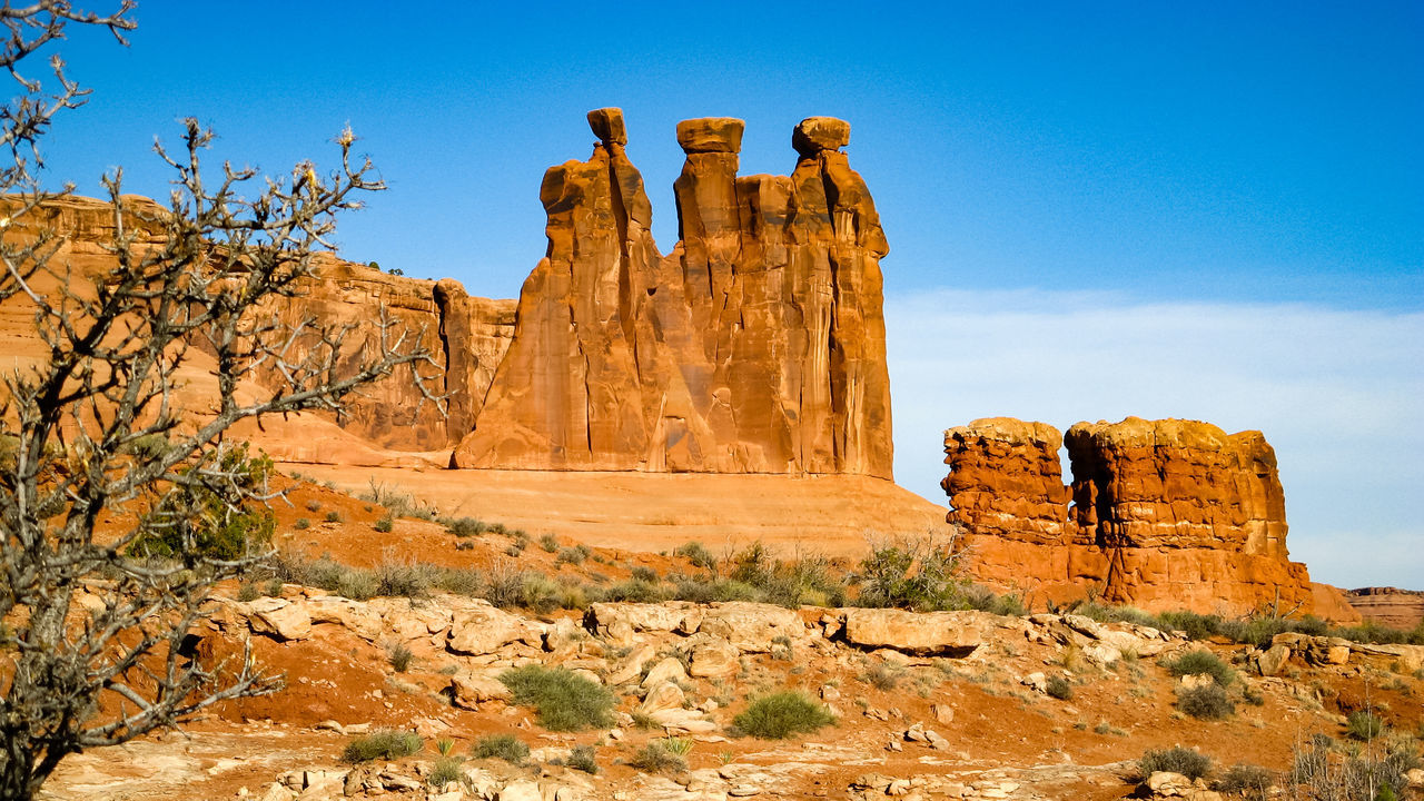 Arches National Park, Utah Eroded Old West  Physical Geography Rock - Object Rock Formation Rocky Mountains Arches National Park Sandstone Geological Formations USA Rocky Landscape Eroded Rocks National Parks Sandstone Rocks Scenic Landscapes The Old West Geological Formation Wind Erosion Eroded Mountain Western USA Rocky Natural Non-urban Scene