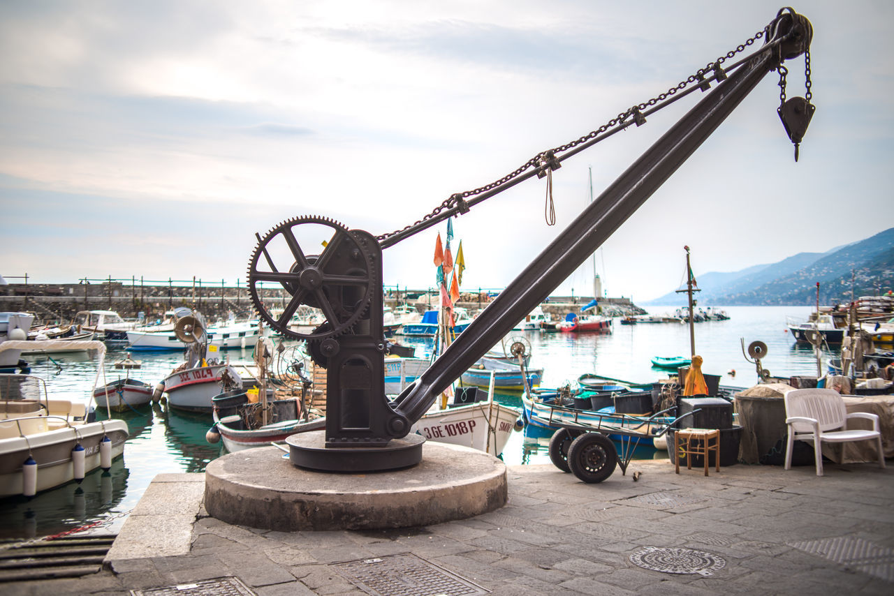 Architecture Boats Building Exterior Built Structure City Cloud - Sky Day Fishing Harbor Liguria Moored Nature Nautical Vessel No People Old Outdoors Port Crane Port Town Shipyard Sky Water