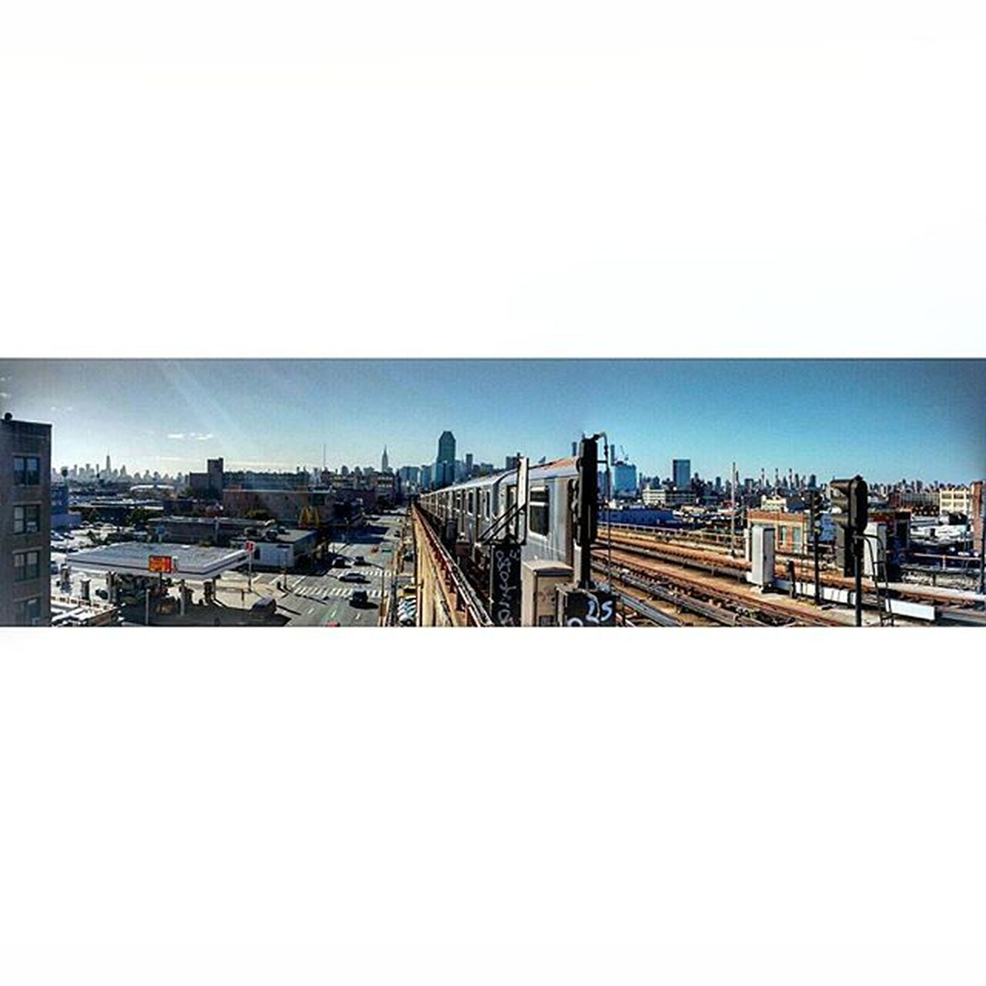 NYC Panorama LIC Tracks Manhattan Urban Design Trains Elevatedtrainstation Took a couple of pics, stiched them together and got this cool pic