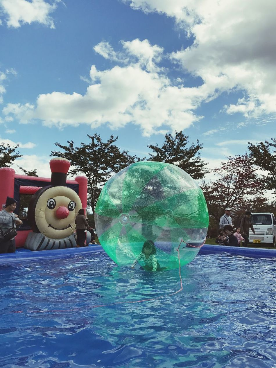 A Girl In Bubble Bubble Ball Air Ball Ball Balloon Sky And Clouds Sky And Water Atraction Playing