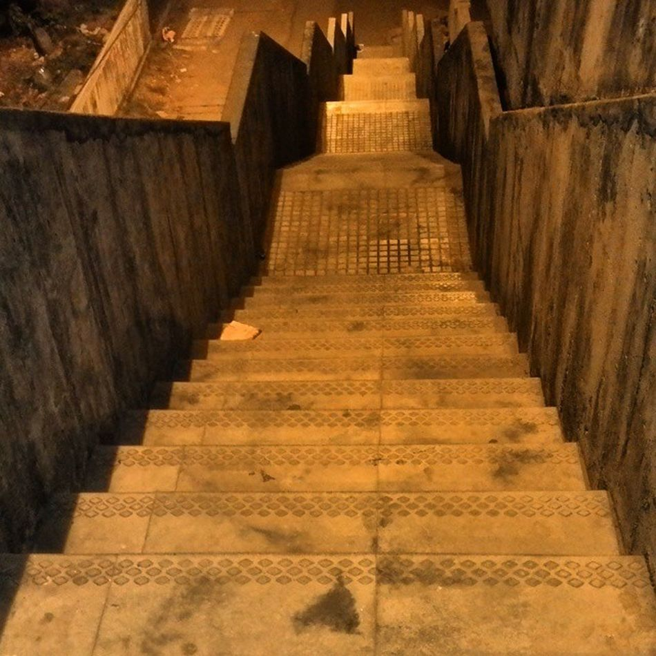 You can never see the finish line from the starting point; the destination lies way beyond from what the eye can see! Tags : ➡ Stepdown Keepongoing Dontlookback stairs earlymornclick lamplit streetlight determination Cochin photospree