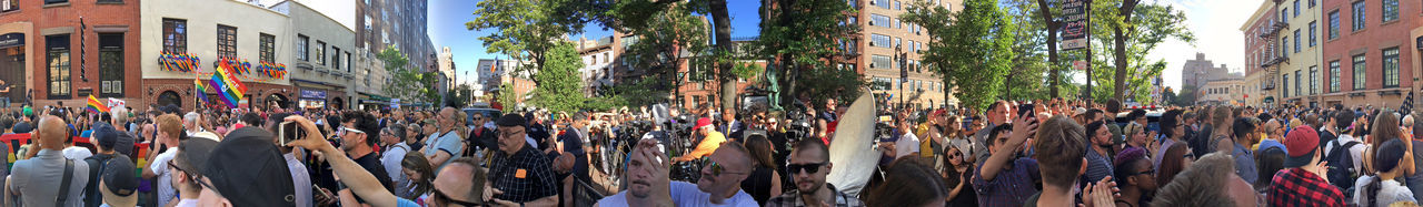 Greenwich Village, NYC, June 13, 2016: LGBT rights advocates gather at a vigil at the historic Stonewall Inn, in Greenwich Village, Manhattan, to honor the victims of the mass shooting at a gay club in Orlando, Florida. Activists Civil Rights  Gay Gay Bar Gay Rights Greenwich Village Gun Control Lgbt Manhattan New York City NYC Orlando Shooting Pride Protests Stonewall Inn Vigil