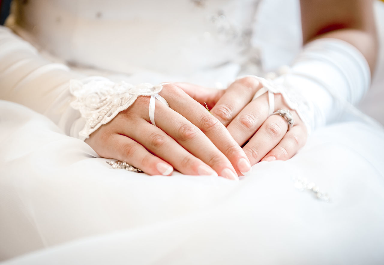 Bride in a white dress and gloves. Hands close-up Accessories Adult Bridal Bride Caucasian Celebration Close-up Female Gloves Hands Holiday Human Body Part Human Hand Life Events Love Manicure People Ring Unrecognizable Person Wedding Wedding Dress Wedding Ring White Color Woman Women