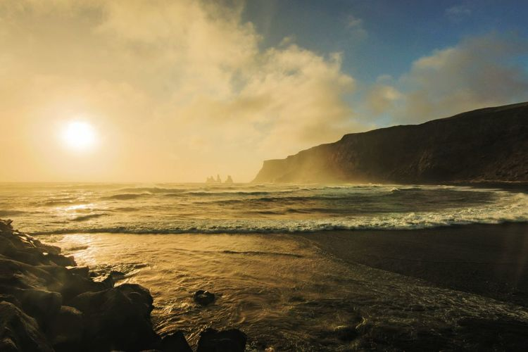 Black volcanic sand beach at Vik in Iceland. A beautiful but cold day. Sun Bestseatsinthehouse Photography Sunset Vik Iceland Beachphotography Beauty Creative Light And Shadow Solitude