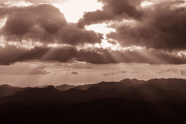 Beauty In Nature Clouds Day Egypt Landscape Lights Monochrome Mountain Nature Saint Catherine Silhouette Sinai Sky Sun Sunlight Sunrise Sunset
