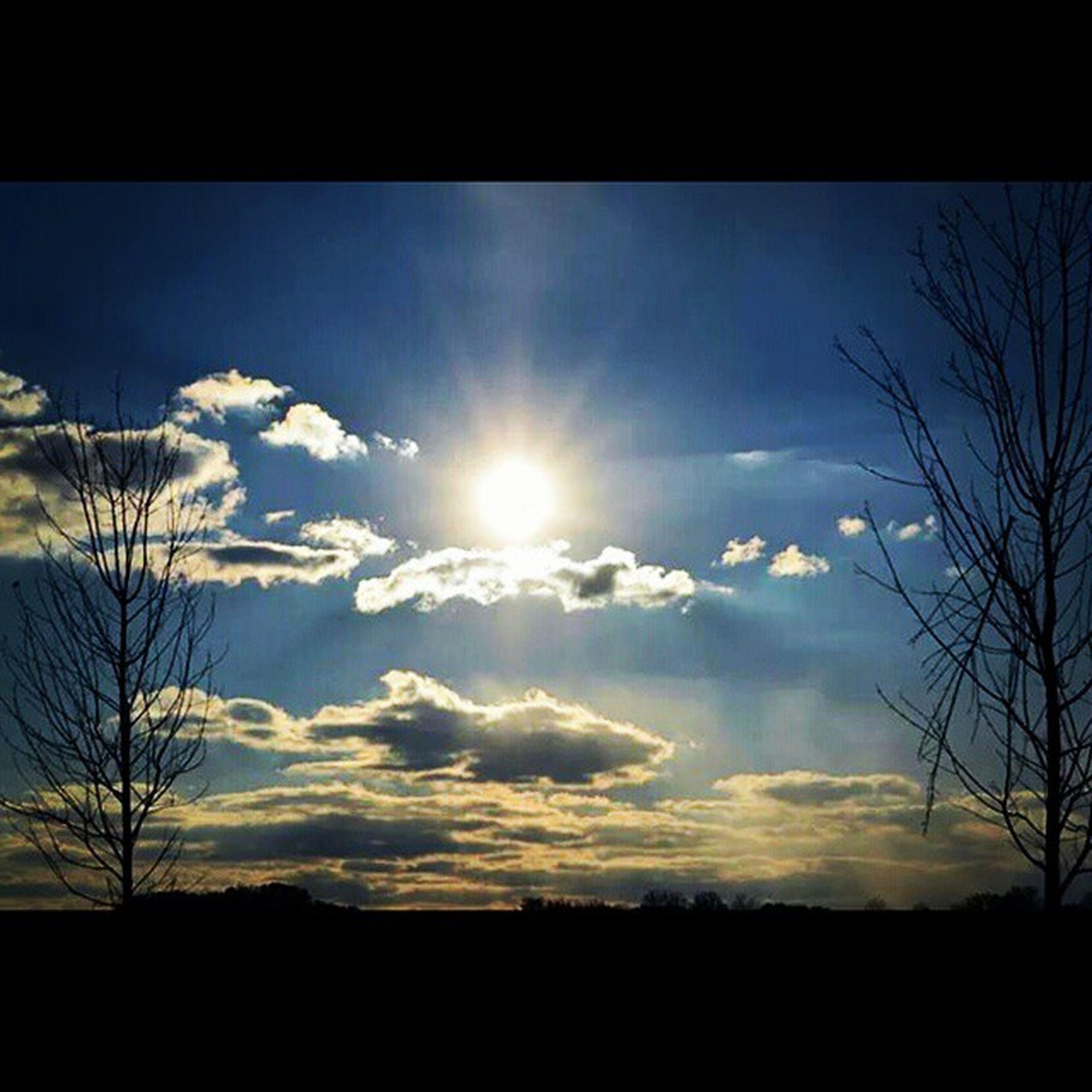 silhouette, sun, sky, sunset, tranquility, tranquil scene, scenics, beauty in nature, sunbeam, sunlight, tree, transfer print, nature, landscape, cloud - sky, bare tree, cloud, lens flare, idyllic, field