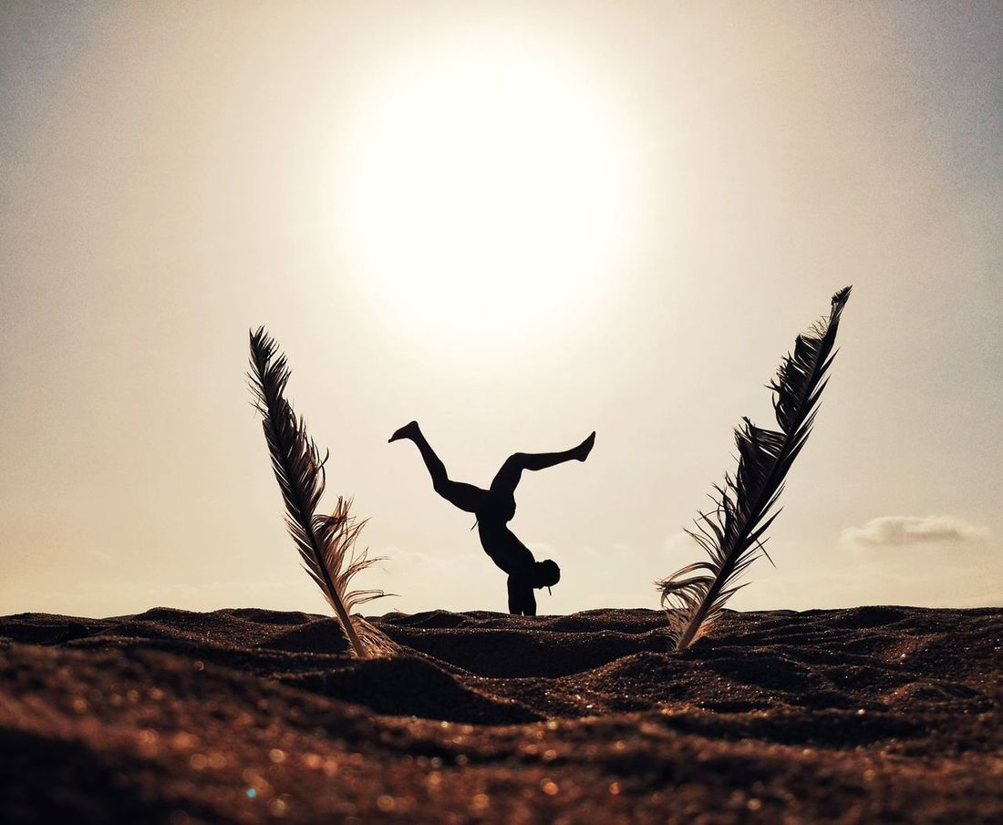 One Person Strength Desert Sunset Sunlight Exercising Healthy Lifestyle Only Men Leisure Activity Jumping Handstand  Motion Feathers Sport Skill