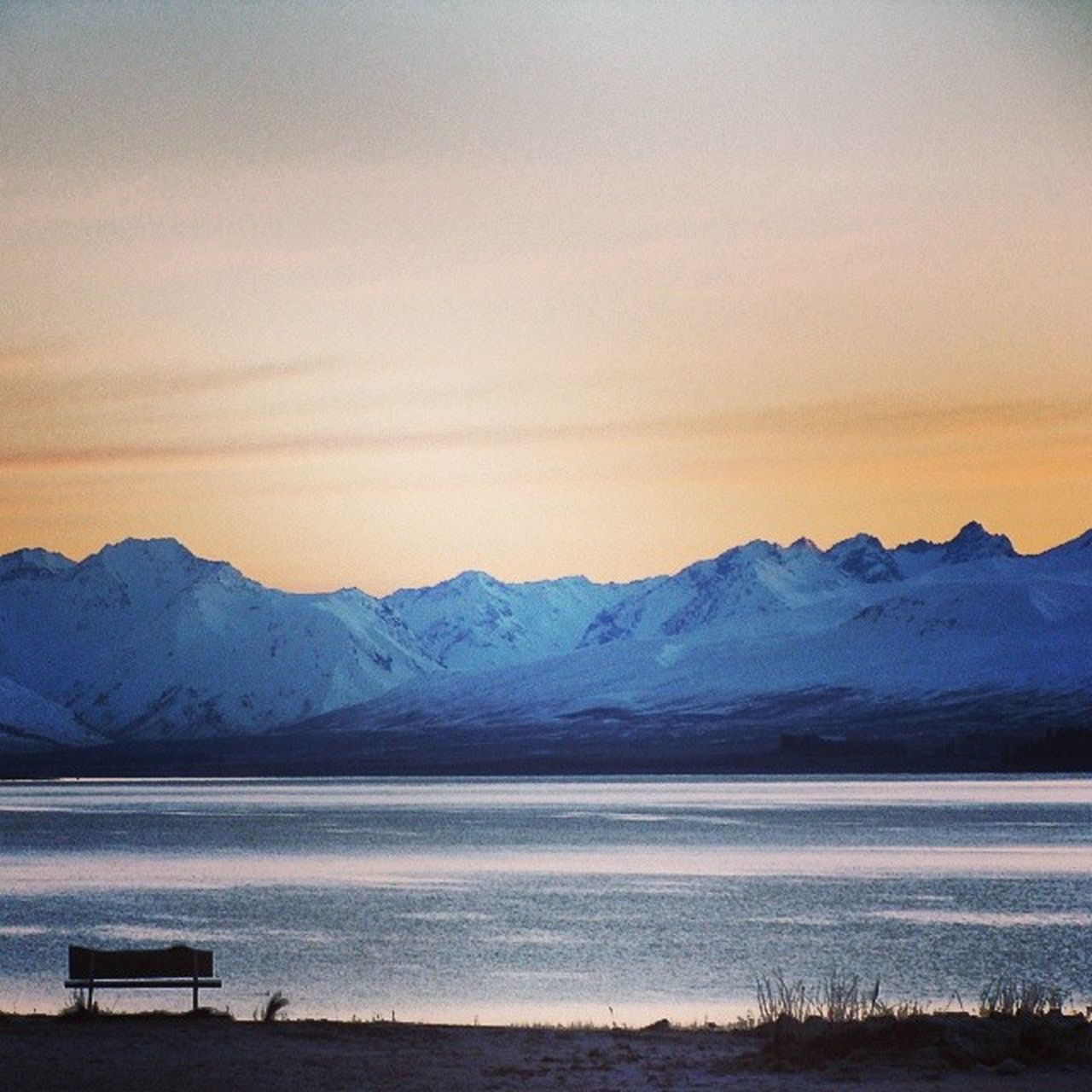 New_Zealand NZ Lake_Tekapo Dawn Mountains Snow Cold Morning Scenery View Amazing Awesome Beautiful Natural Sky Travel Tourist The Great Outdoors - 2016 EyeEm AwardsPeaceful Old Photo Lonely Bench Place_For_Contemplation Instanature InstagramNZ