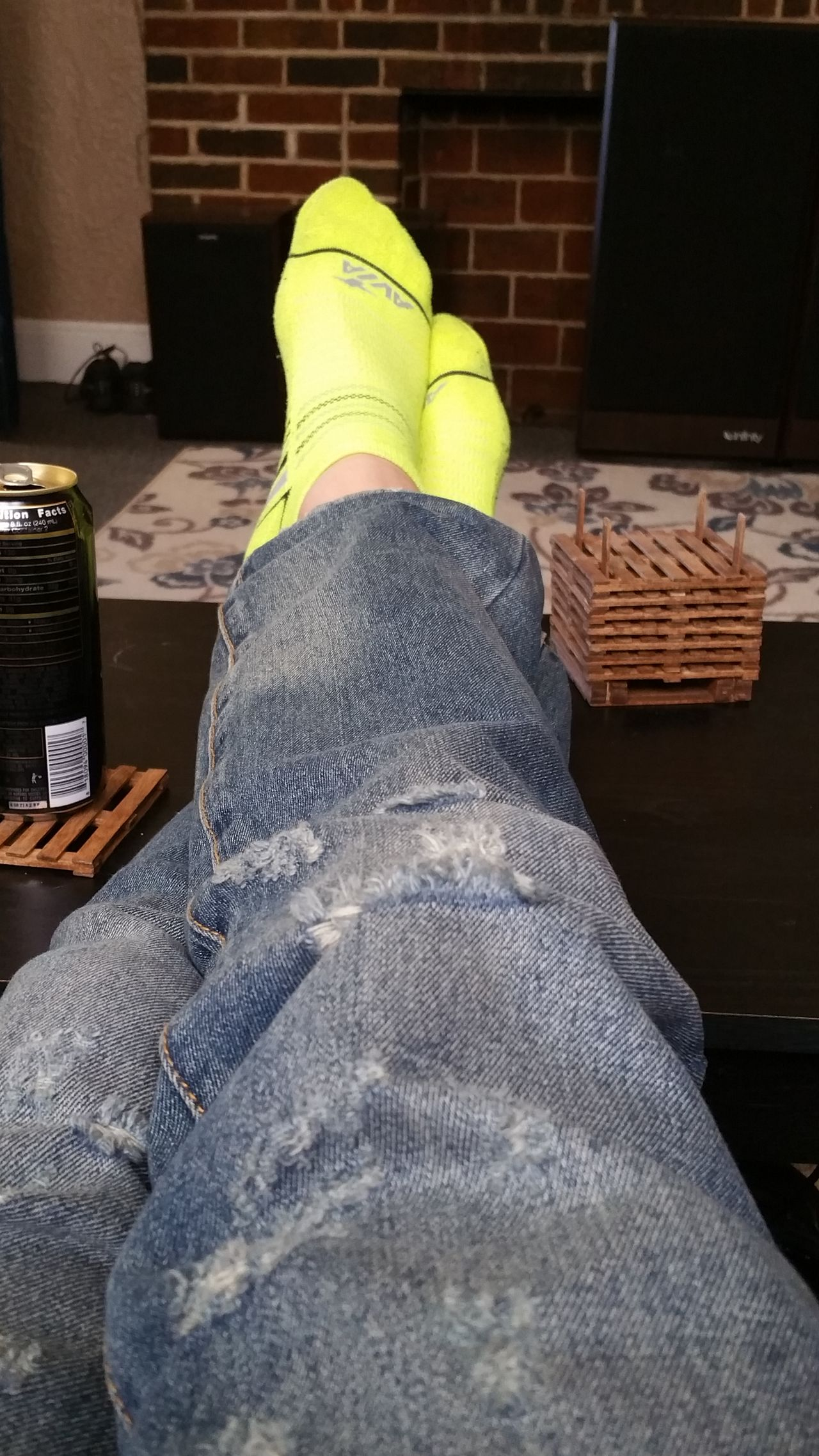 I should totally be sleeping right now... Human Leg Human Body Part Men Low Section Personal Perspective Socks Socks Of The Day Neon Neon Yellow Colorful Socks Me ThatsMe Relaxing
