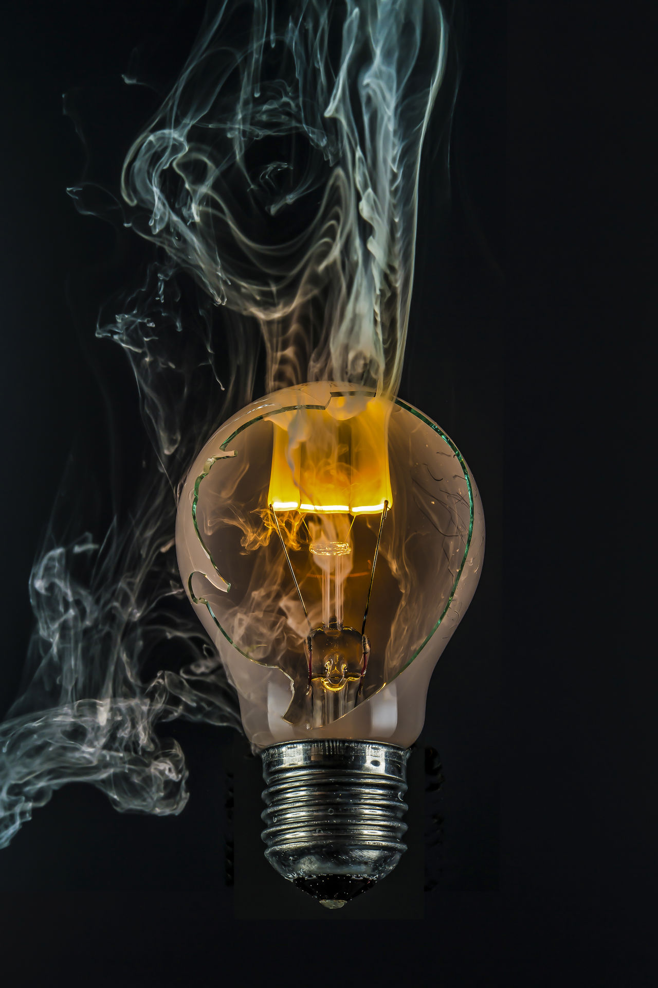 Art ArtWork Black Background Broken Glass Damage Electricity  Energy Experiment Explosion Filament Flashlight Glimmering Lamp Socket Light Light Bulb Light Source Orange Color Physik Smoke Smoke - Physical Structure