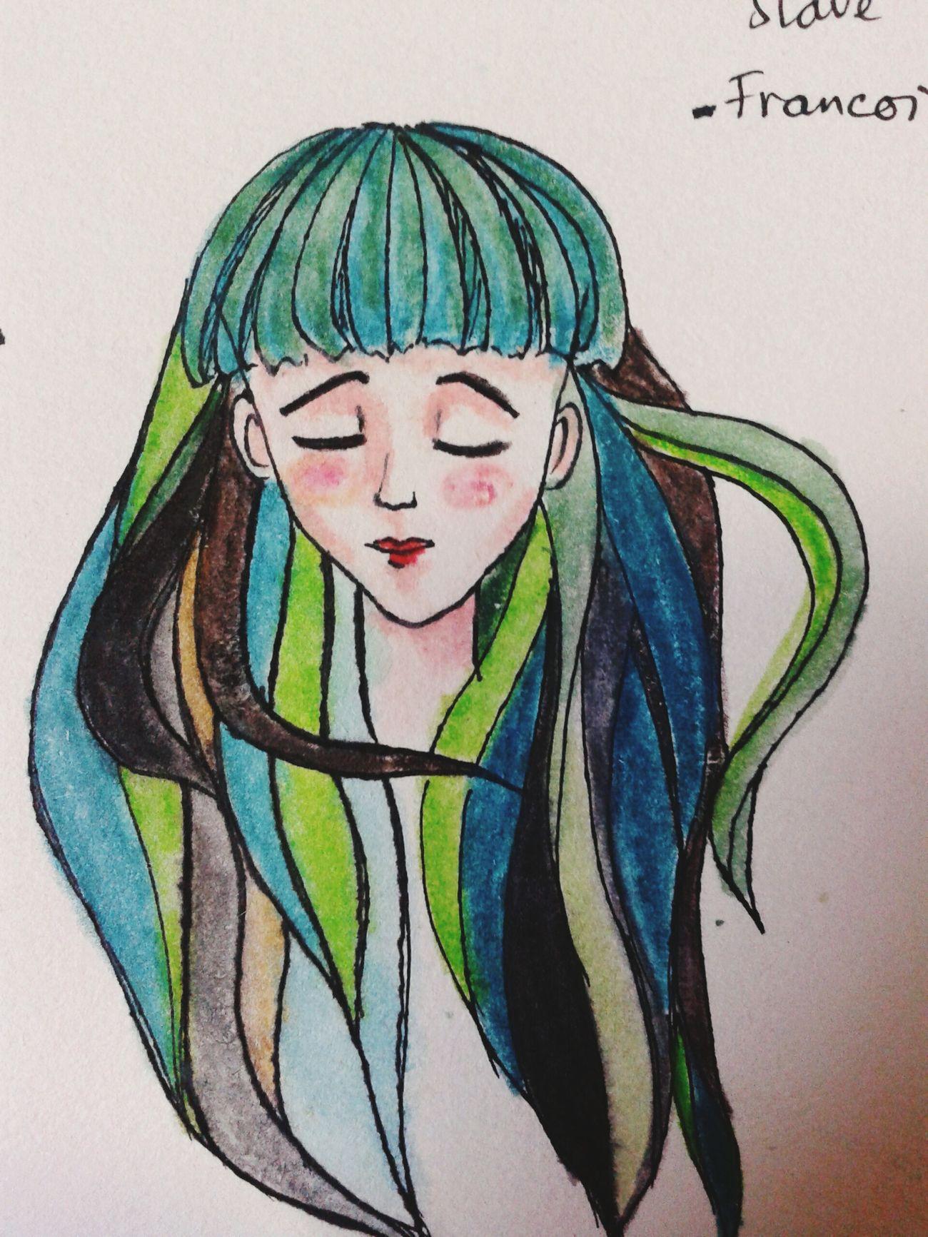 Greengirl Girl Morigirl  My Drawing Colours Art Work Dream Sleeping Hurt