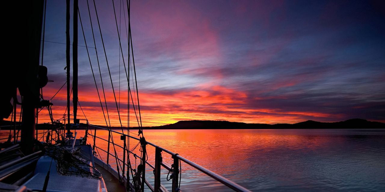 sunset, nautical vessel, sky, transportation, orange color, nature, water, beauty in nature, scenics, sea, mode of transport, cloud - sky, outdoors, tranquility, no people, mast, tranquil scene, sailing, sailboat, sailing ship, day