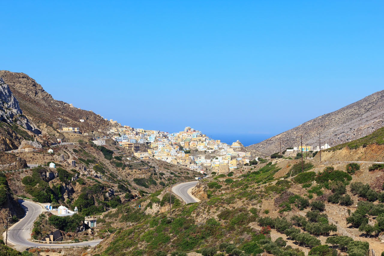 Village of Olimpos on Karpathos island Architecture Beauty In Nature Blue Built Structure Clear Sky Day Island Karpathos Island Landscape Mountain Nature No People Olimp Outdoors Road Rock - Object Scenics Sky Tranquility Travel Destination Tree Village Water