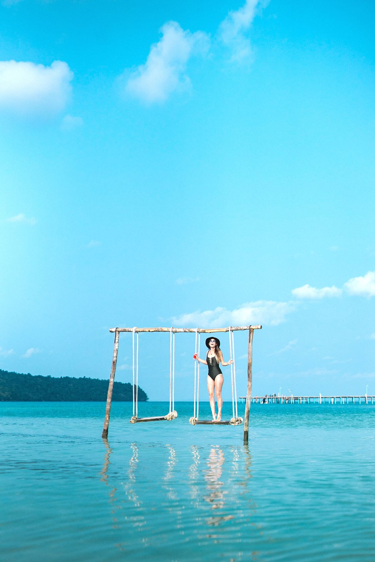 Momentary bliss Blue Sea Sky Activity Water Adults Only Young Adult One Person Full Length Outdoors Adult Sport People Day Vacations Horizon Over Water Nature Travel Photography ASIA Showcase: April Cambodia Fun Dreamy Relaxation Summer The Secret Spaces