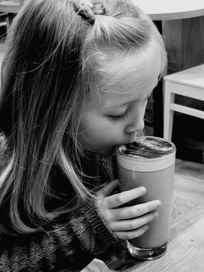 Girl Drinking Hot Chocolate Love Yourself Girl Drinking Winter Warmer Drink Drinking Drinking Glass Drinking Straw Milk Food And Drink Refreshment Frothy Drink Child