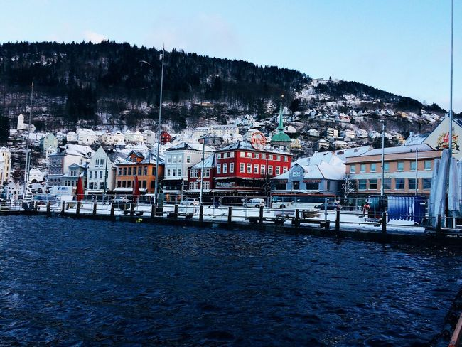 Bergen Norway Sea Winter Snow