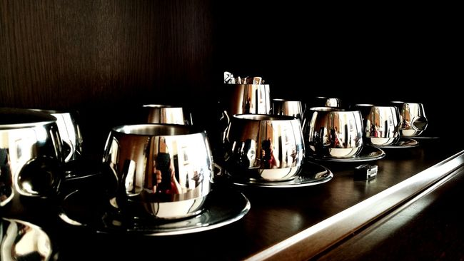 Rows Rows Of Things Rows Of Cups Cups Cups And Saucers Cups! Cupboard In The Cupboard Shiny Steel Cups Everything In Its Place