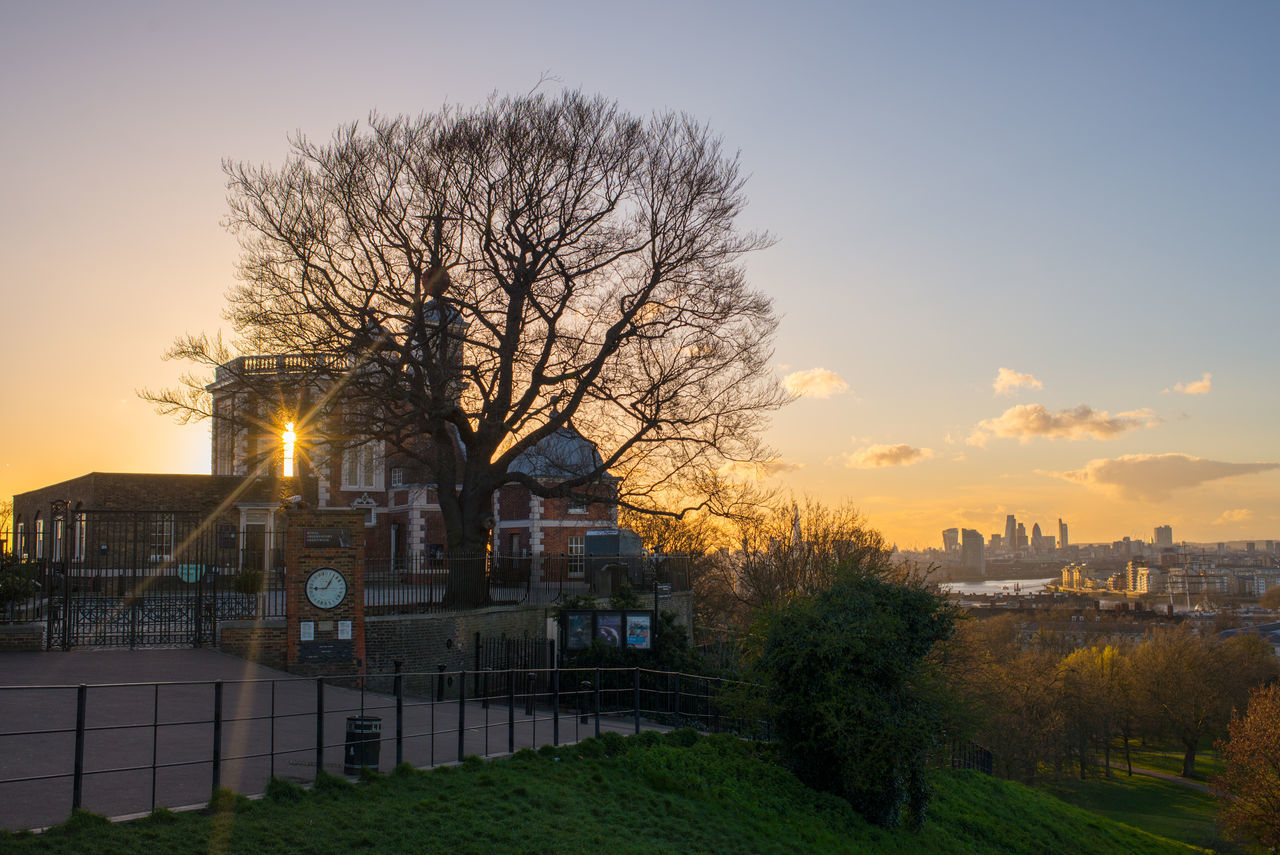 Royal Observatory Greenwich. Architecture City Cityscape England Europe Greenwich London No People Observatory Orange Orange Color Sky Sun Sunset Tree Uk