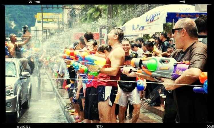 Song-Kran Festival in Thailand. (This photo taken in Chiang Mai,Thailand Festival Songkran Festival Enjoying Life Relaxing Thailand only : original tradition! //people just thowing water to everyone, it is start on 12th April - 14th April. Come to Chiang Mai,Thailand.