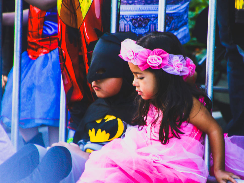 Batman Bonding Child Childhood Close-up Costume Day Family Fancy Dress Friendship Girls Halloween Lifestyles Multi Colored Real People Superhero Superheroes Togetherness Two People