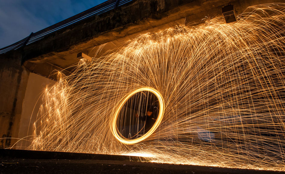 """Shape of SteelWool"" Danger Eeyem EeYem Best Shots Heat - Temperature Illuminated Long Exposure Motion Night Nightphotography One Man Only One Person Outdoors People Sparks Speed Spinning Spiral Steelwool Steelwoolphotography Wire Wool"