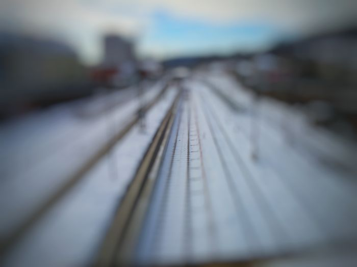 Railroad Track Transportation Rail Transportation No People Sky Outdoors Day Ice Winter Snow Cold Temperature World Trainstation