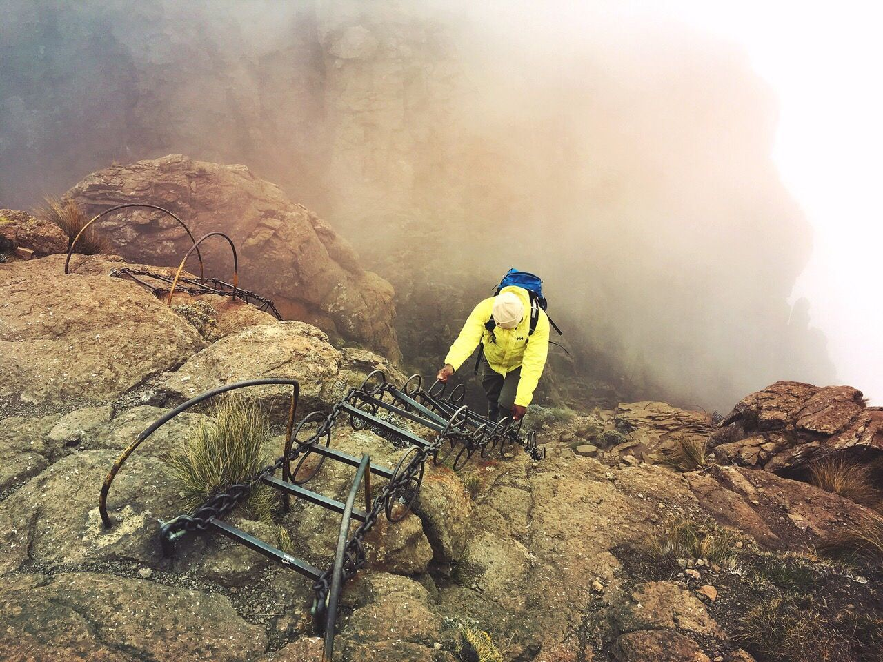 The Great Outdoors - 2017 EyeEm Awards Drakensberg, South Africa Chain Ladder Hiking Adventures Climber Mountaineer Rock Formation Rockface Man
