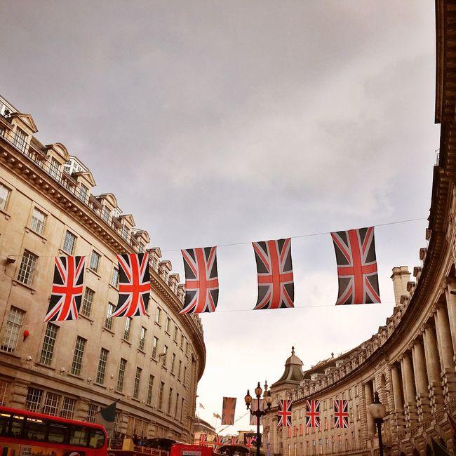 London Regent Street  Architecture Flag Union Jack Union Flag Celebrate Vintage Historical Event Queen Birthday Celebration England United Kingdom Urban Geometry City Building Exterior