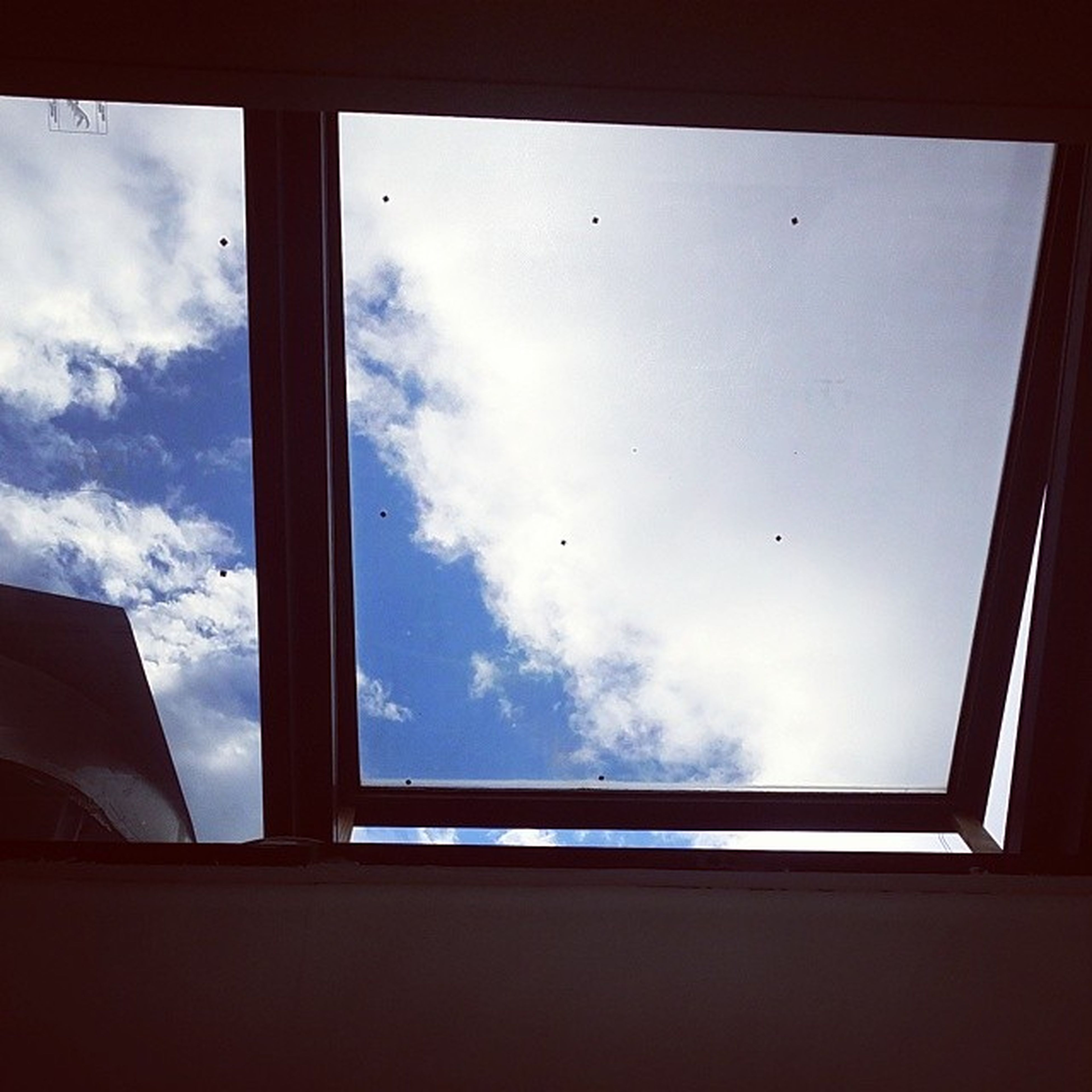 window, sky, indoors, low angle view, glass - material, animal themes, bird, transparent, cloud - sky, built structure, silhouette, flying, architecture, cloud, wildlife, glass, animals in the wild, looking through window, day, building exterior