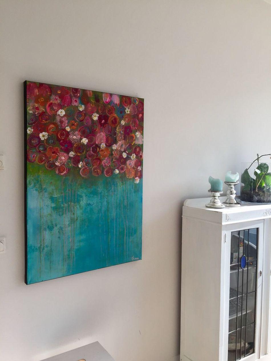 Home Interior Home Showcase Interior Abstract Art Flower Multi Colored Acrylic Painting Interior Design Interior Art