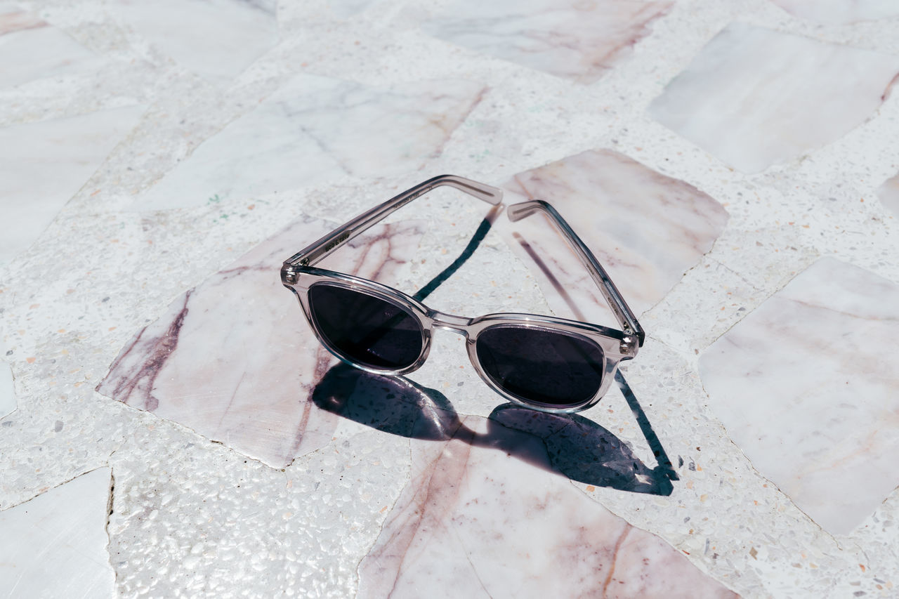 Close-up Day Eyeglasses  Eyewear Fashion High Angle View Marble Minimalism No People Pastel Pink Color Protection Reflection Shadow Still Life Sunglasses Terrazzo