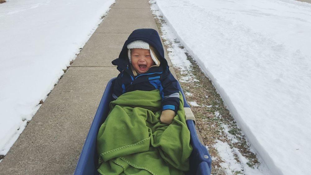 Baby Son Boy Asian  Kids Cute Child Play Cold Adventure Snow Winter Outside Winterwonderland Smile Happy Love Wagon
