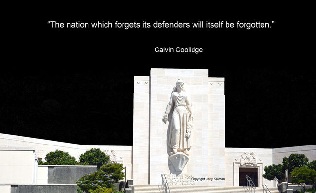 #Quotograph: Former President #CalvinCoolidge reminds us of the importance of #IndependenceDay with view of #NationalMemorialCemeteryofthePacific in Hawaii Calvin Coolid Independence Day Celebration By ITag National Memorial Cemetery Oahu, Hawaii Puncbowl Quote Quotograph US Presidents Day