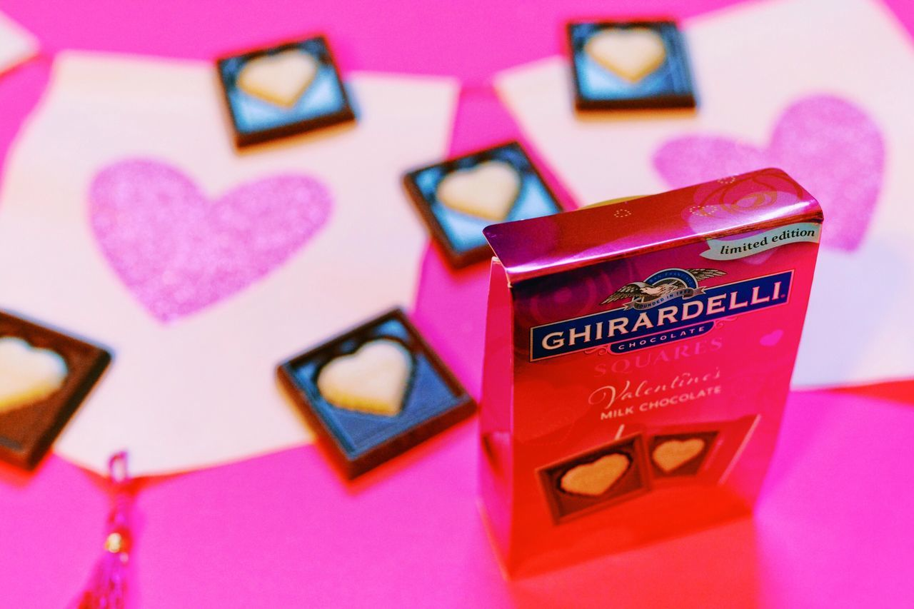 Valentine's Day  Valentine Holiday Love Love ♥ Chcolate Text Heart Shape Love Pink Color Focus On Foreground No People Close-up Box - Container Indoors  Day