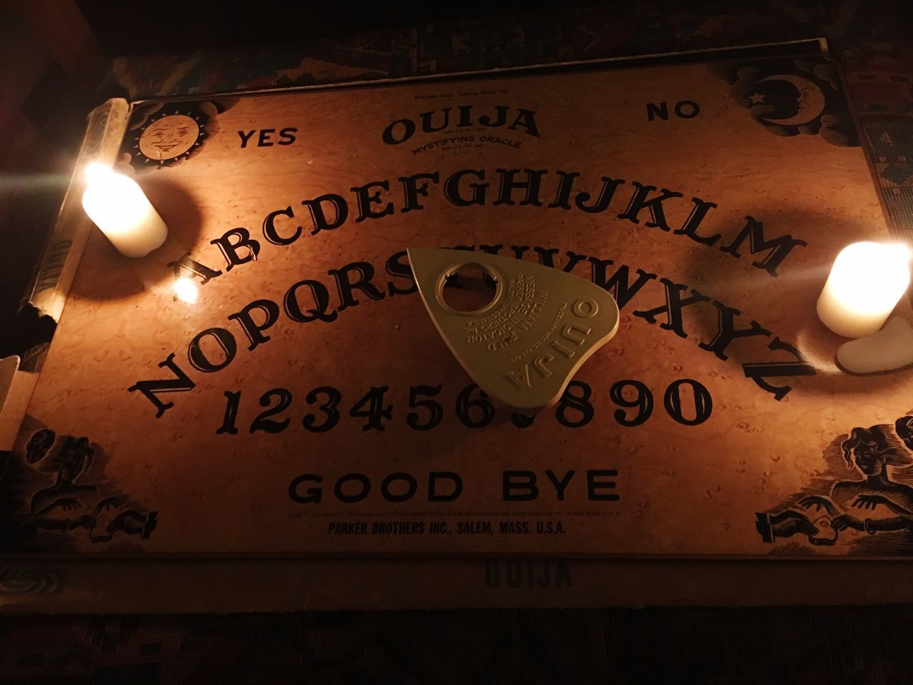 Let's talk Ouija Ouija Board  Talking Spooky Nightphotography Candlelight Ghosts Spirits Spiritual Darkness And Light Dark