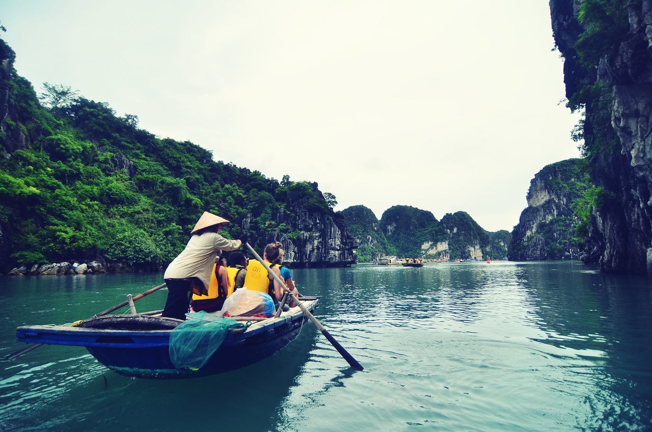 Admiring Halong Bay  Nature Boat Vacation ASIA Vietnam Floating Village Local Landscape Water