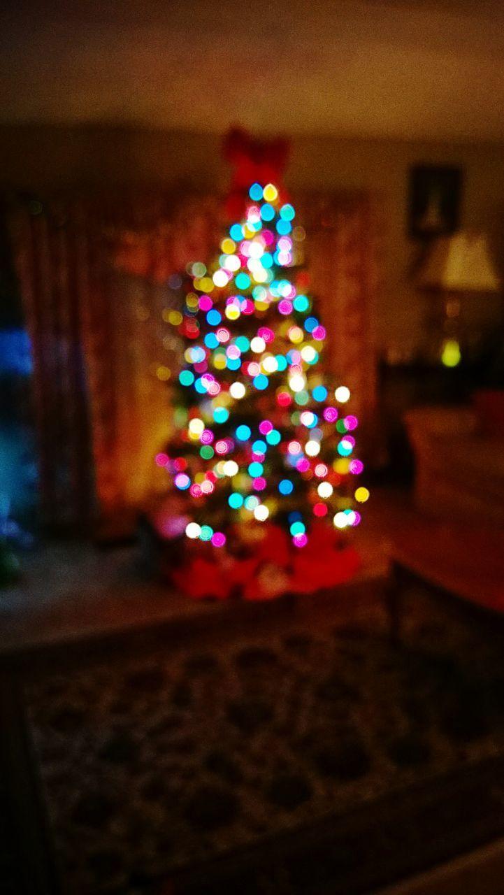 christmas, christmas decoration, illuminated, christmas tree, indoors, celebration, night, no people, christmas lights, tradition, christmas ornament, multi colored, defocused, close-up