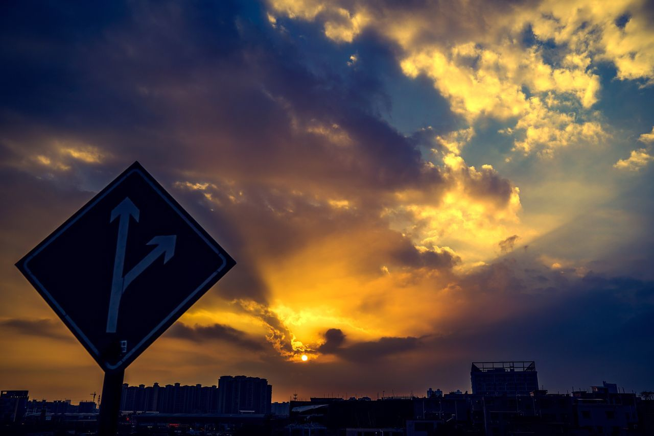 Route to Sunset Sky Cloud - Sky Sunset City No People Building Exterior Outdoors Nature Beauty In Nature Architecture Day Route Sign Guangzhou China CAST Sunlight Sun Glare