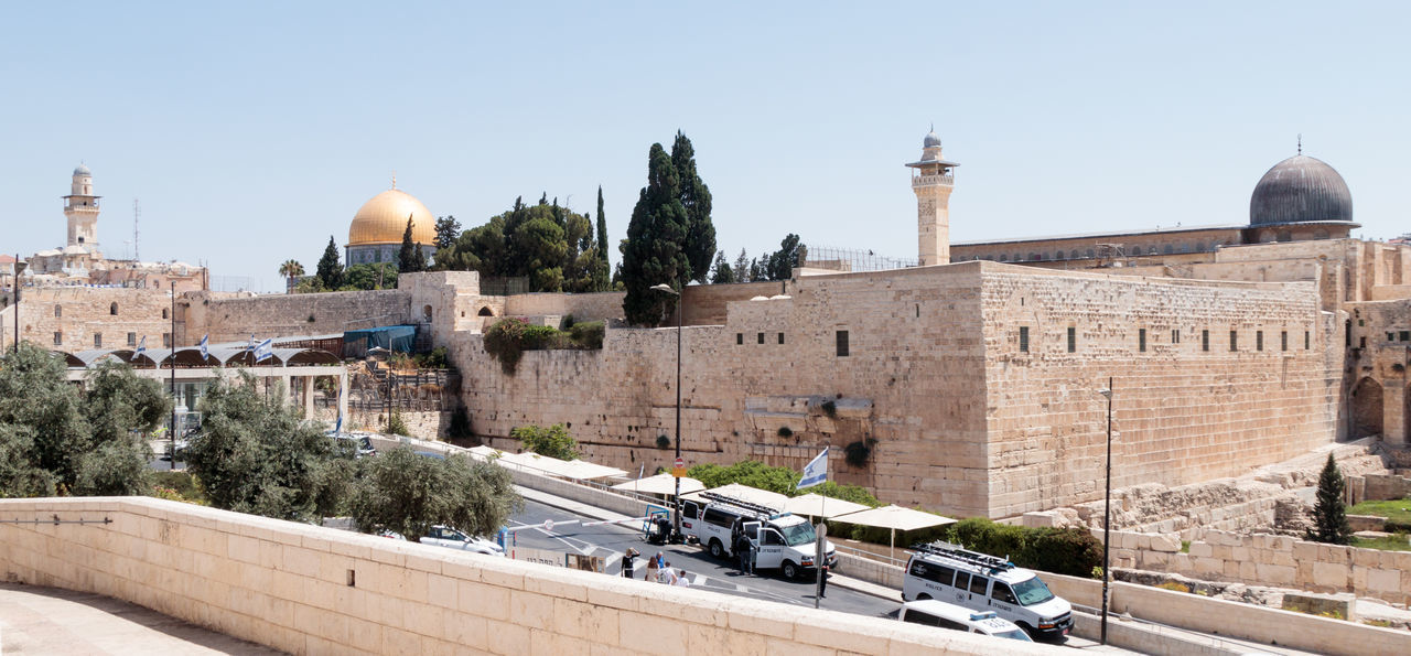 Jerusalem, Israel, July 14, 2017 : View of the Temple Mount in the Old City of Jerusalem, Israel Al-Aqsa Mosque Ancient Architecture Country Dung Gate El-Ghawanima Tower Israel, Holiday, Sky, Filter, Trees, Birds Jerusalem Cemetery Middle East Wall Arab Architecture Built Structure Culture Day Dome History Holy Jerusalem Judaism Mount Of Olives Muslim Old Religion Temple Mount